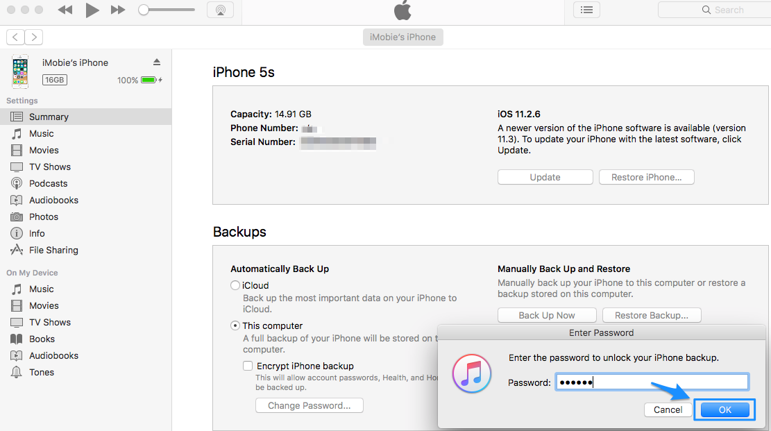 How to Remove Encrypted iPhone Backup Option in iTunes- Step 4