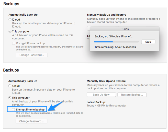 How to Remove Encrypted iPhone Backup Option in iTunes- Step 5