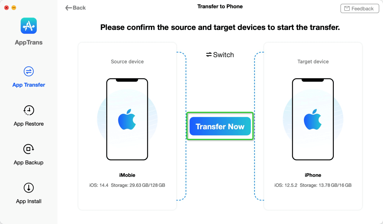 Connect Two iOS Devices to AppTrans