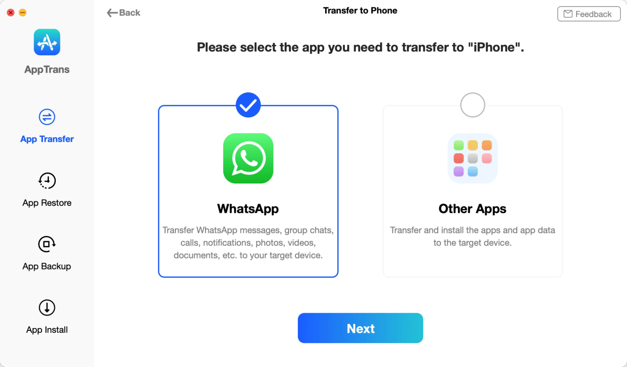 Select WhatsApp to Transfer to iPhone