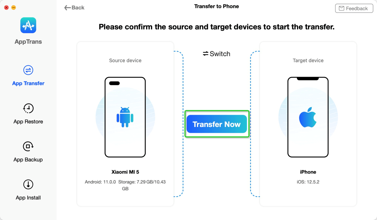 Connect Devices to AppTrans