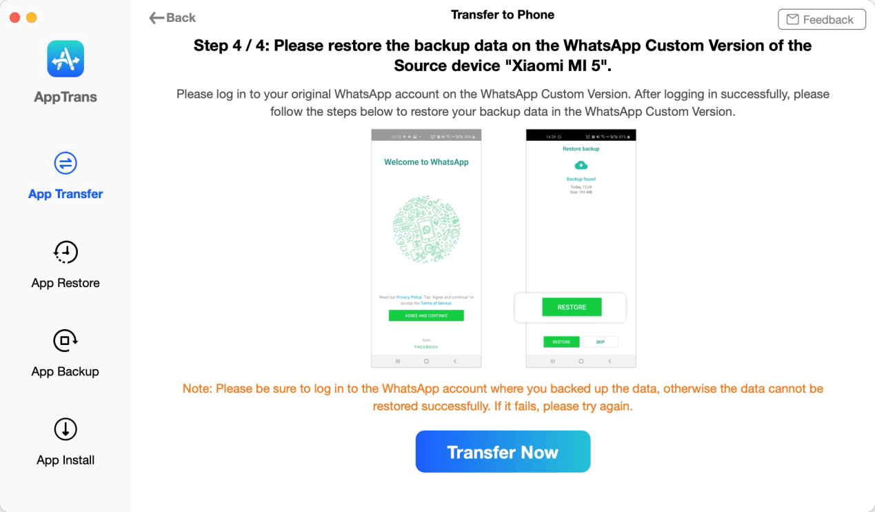 Log in Your WhatsApp Account on the Target Device