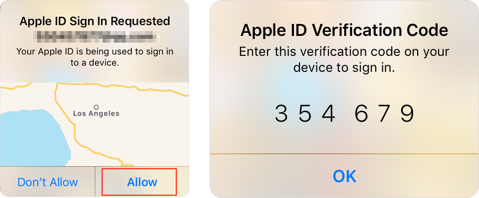 Allow Apple ID Sign Requested  Input Apple ID Verification Code
