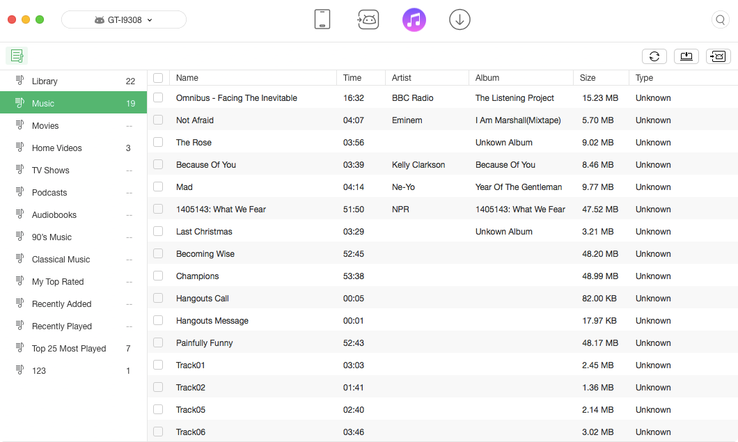 iTunes Library Content on AnyTrans for Android