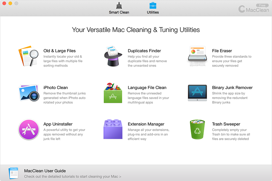 MacClean Main Interface, Utilities