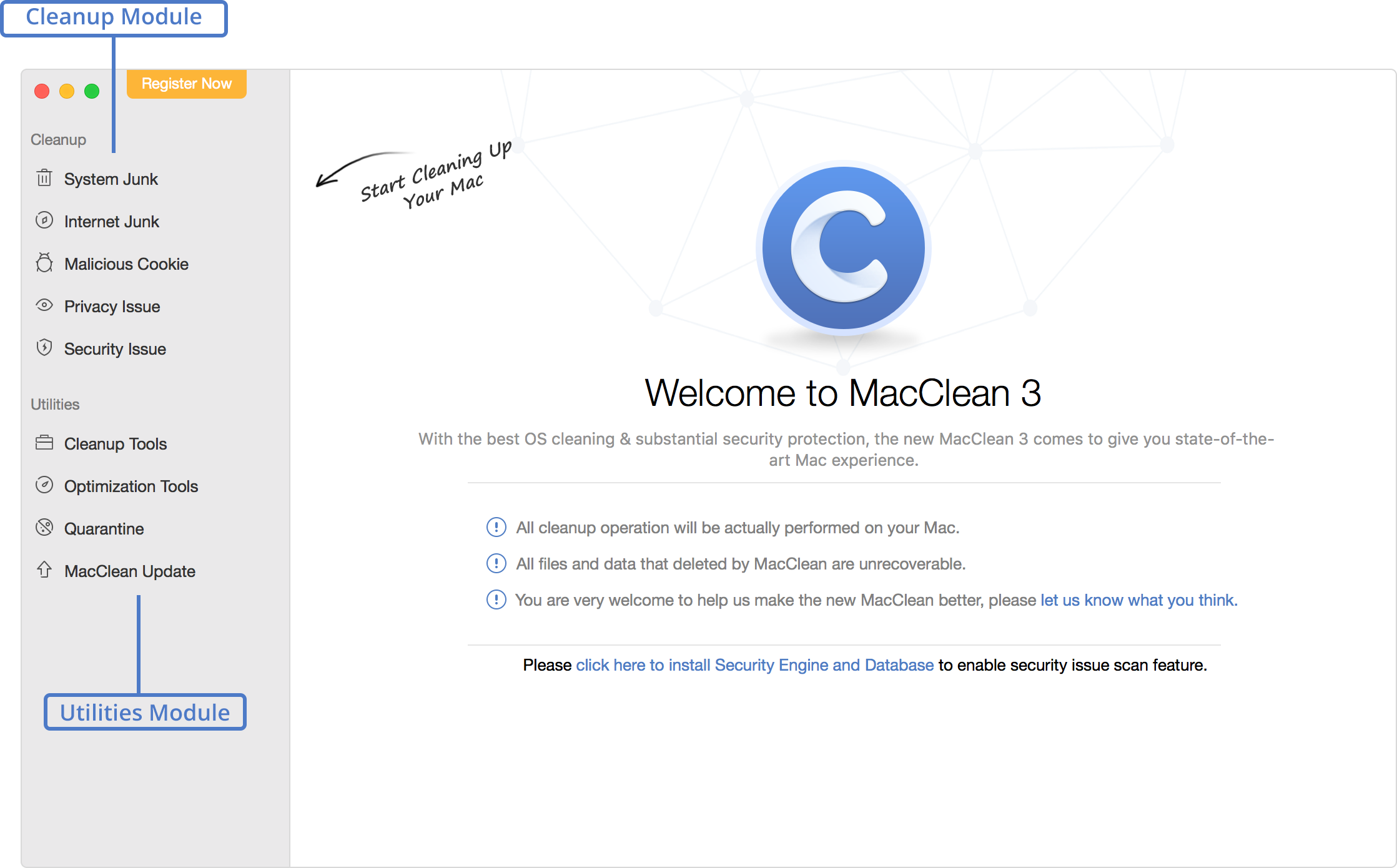 MacClean Welcome Page