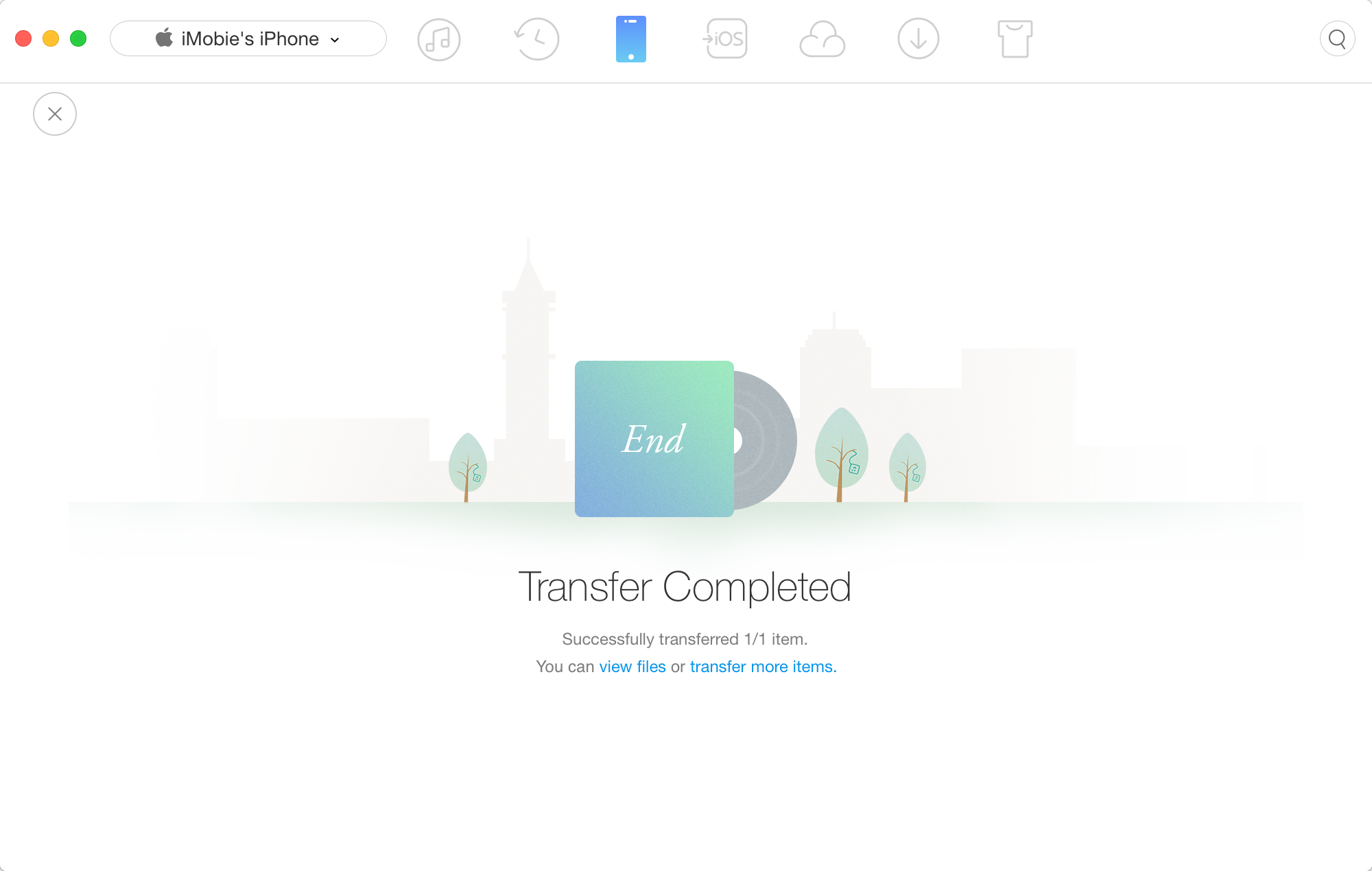 Transfer Complete page