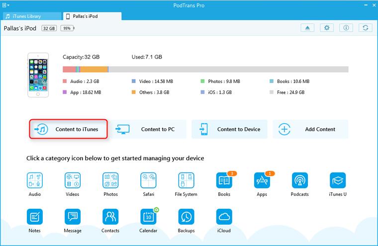 PodTrans Pro main interface