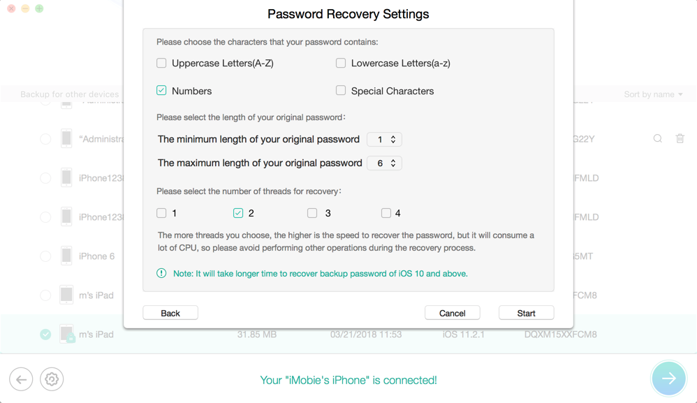 Recover from Encrypted iTunes Backup-Step 4