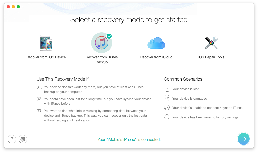 iPhone Data Recovery - Recovery from iTunes Backup 1