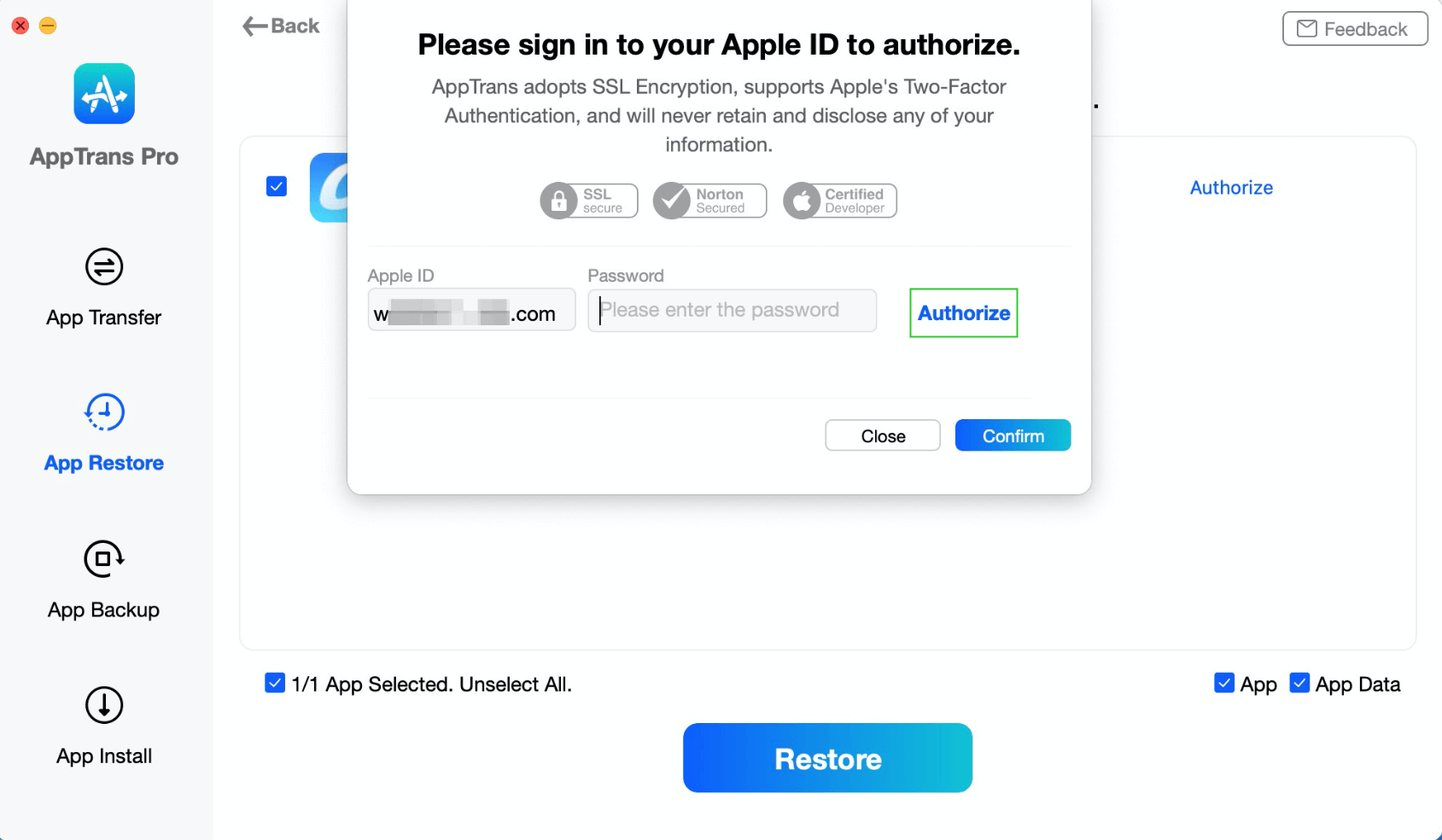 Sigin in to  Apple ID to Authorize iCloud Account