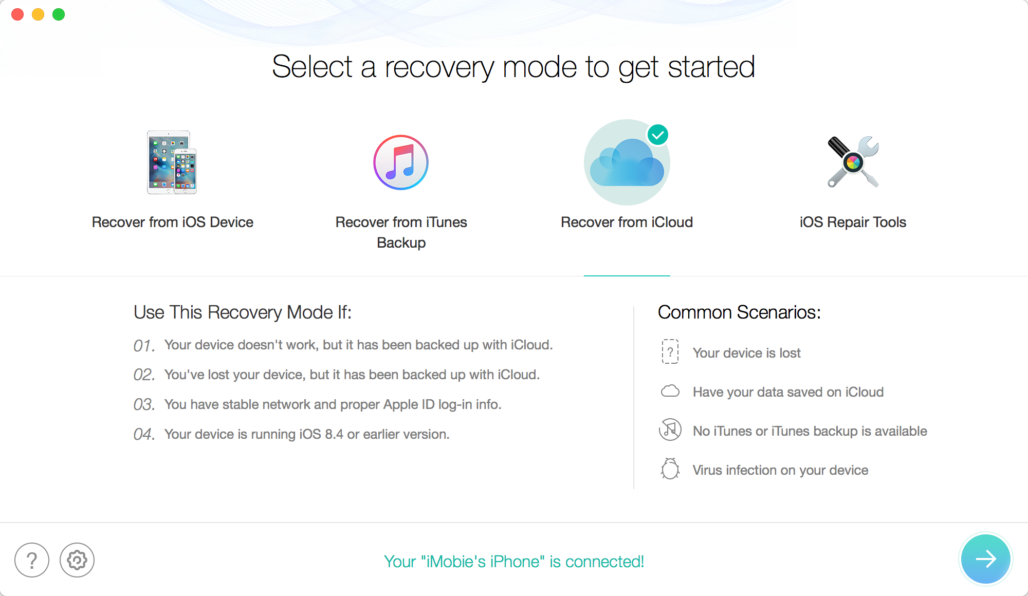 Select Recover From iCloud
