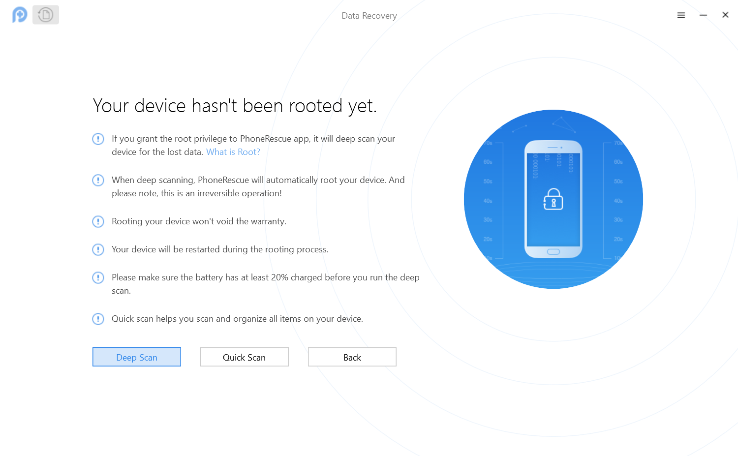 Select Deep Scan to Root Your Android Device