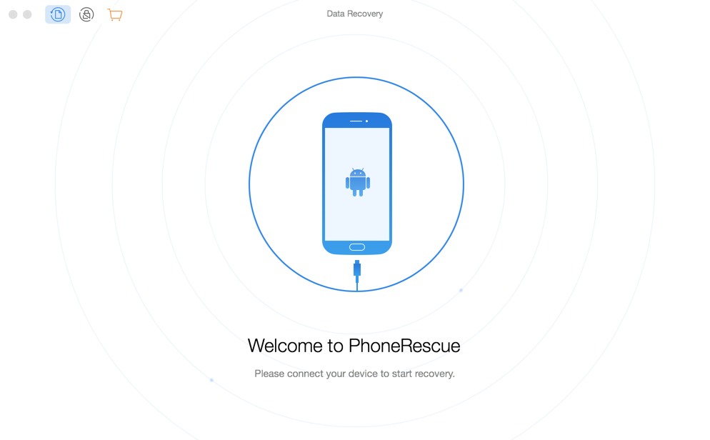 The welcome interface of PhoneRescue for Android