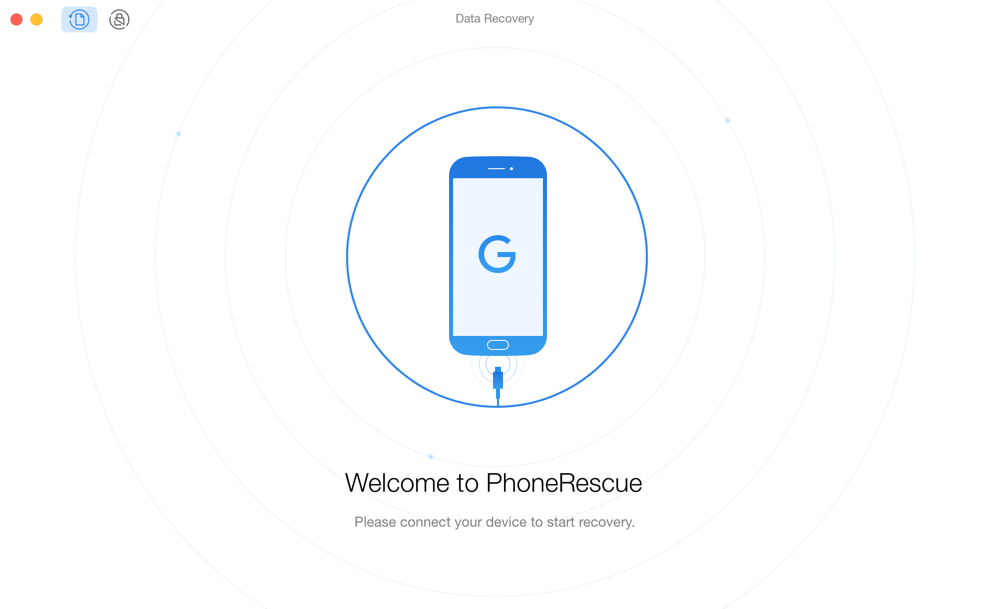The welcome interface of PhoneRescue for Google