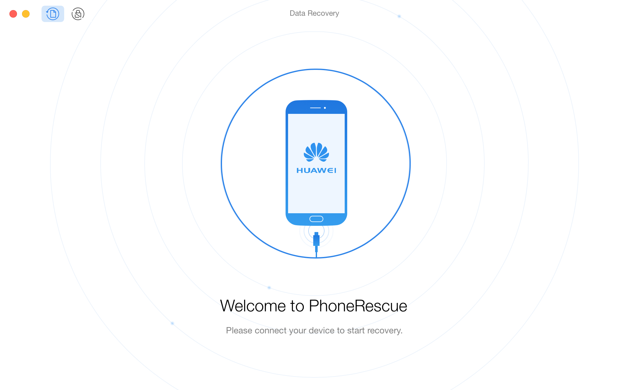 The welcome interface of PhoneRescue for HUAWEI
