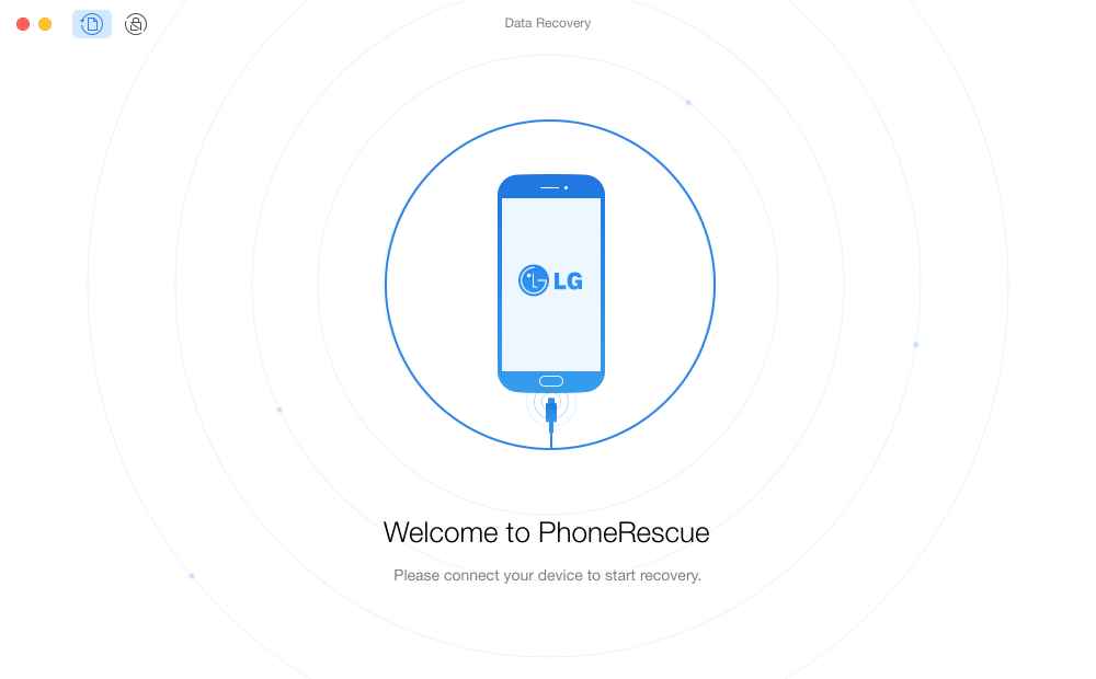 The welcome interface of PhoneRescue for LG
