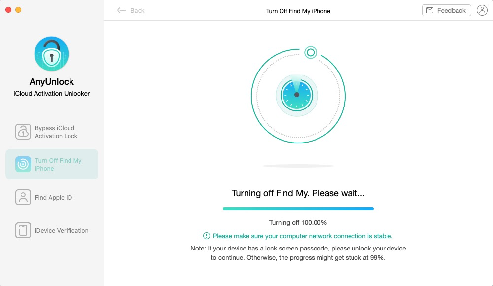 Wait to Turn off Find My iPhone
