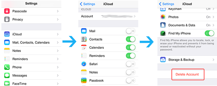 log out icloud account