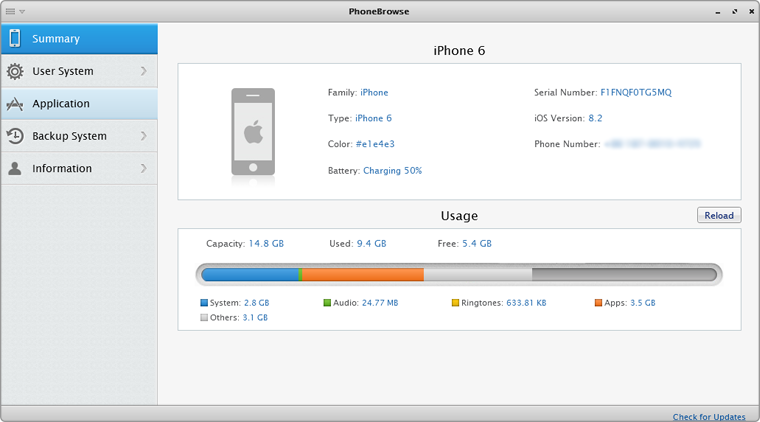 The main interface of PhoneBrowse