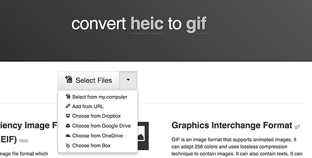 Convert HEIC to GIF using Cloudconvert
