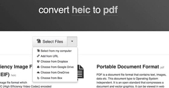 Convert HEIC to PDF using Cloudconvert