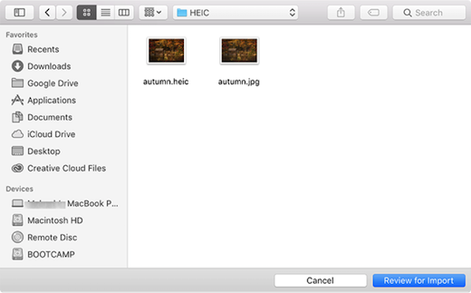 Select and Add HEIC Photos to Lightroom on Mac