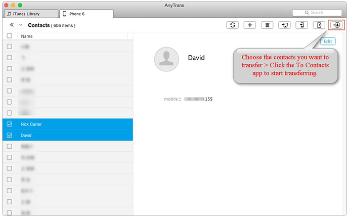 Transfer Contacts from iPhone to Contacts on Mac Using AnyTrans