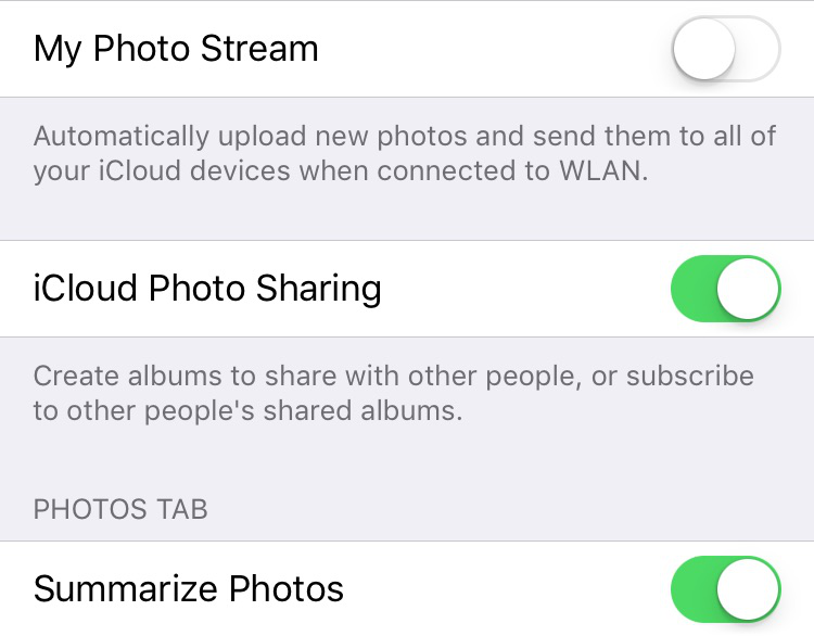 Free Up Disk Space on iPhone or iPad – Disable Photos Streams