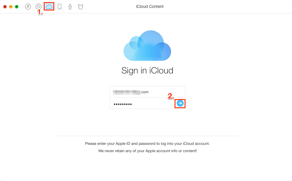 How to Access iCloud Photos with AnyTrans – Step 1