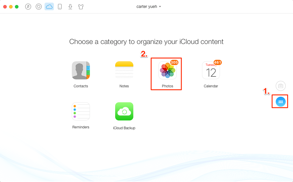 How to Access iCloud Photos with AnyTrans – Step 2