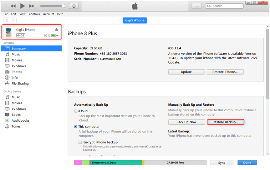 How to Restore Deleted iMessage from iTunes Backup