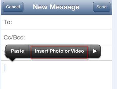 Add attachment to an email on iPhone