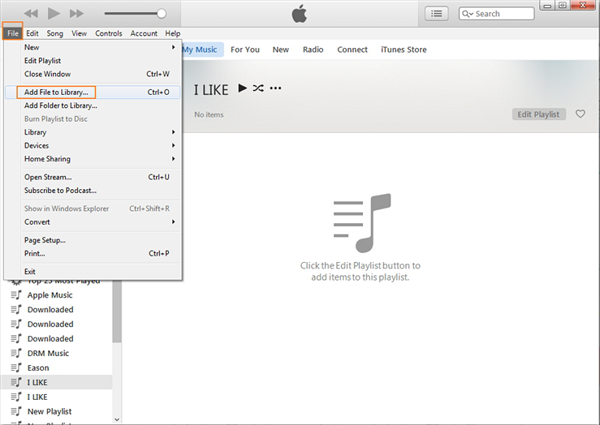 How to Add Downloaded Music to iTunes via iTunes - Step 2