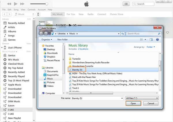 How to Add Downloaded Music to iTunes via iTunes - Step 3