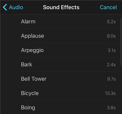 Choose a Sound Effect in iMovie