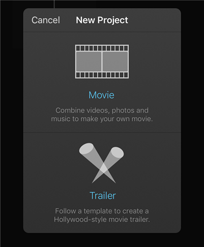 Select Project Type in iMovie