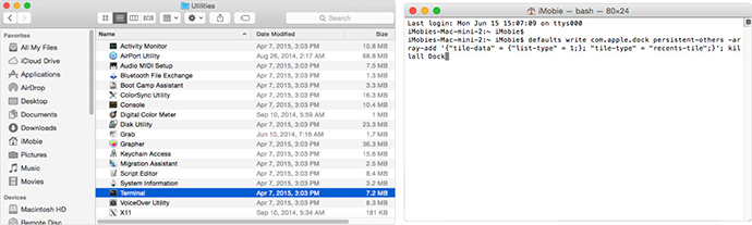Add Recent Used Apps and Documents to Mac's Dock