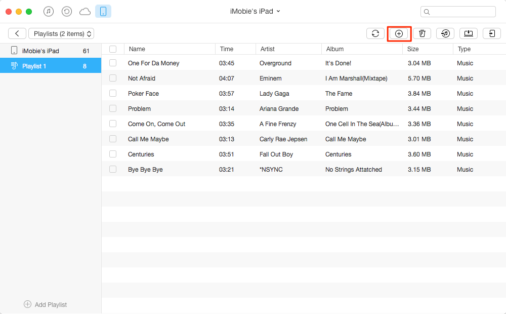 How to Add Songs to Playlist on iPad with AnyTrans – Step 3