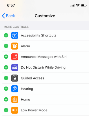 Add to the Device's Control Center