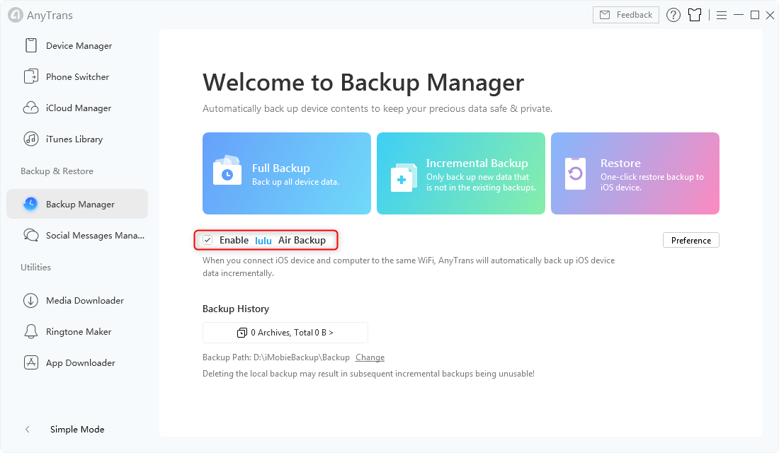 Air Backup in AnyTrans for iOS - Step 3