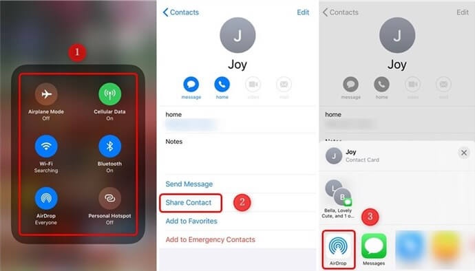 How to AirDrop Contacts from iPhone to iPhone - Step 1
