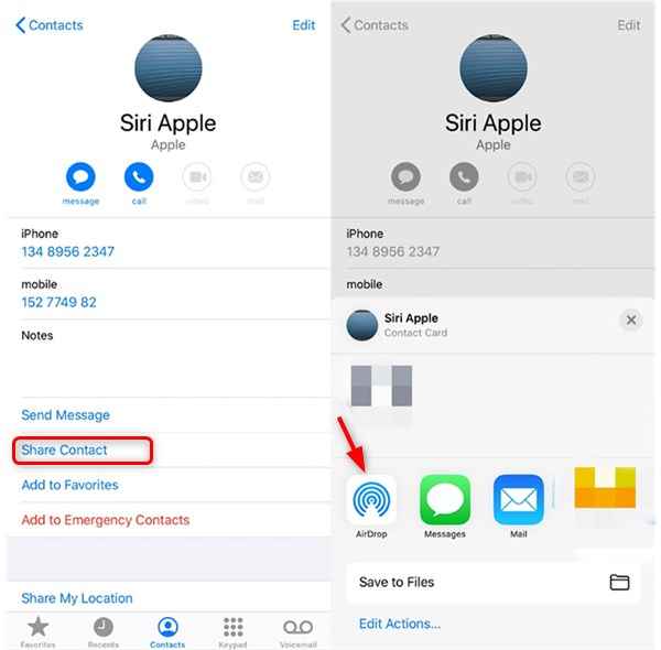 AirDrop iPhone Contacts to Mac