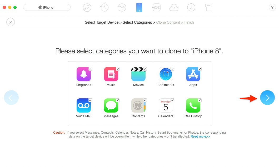 Transfer Data from iPhone to iPhone via AnyTrans – Step 3