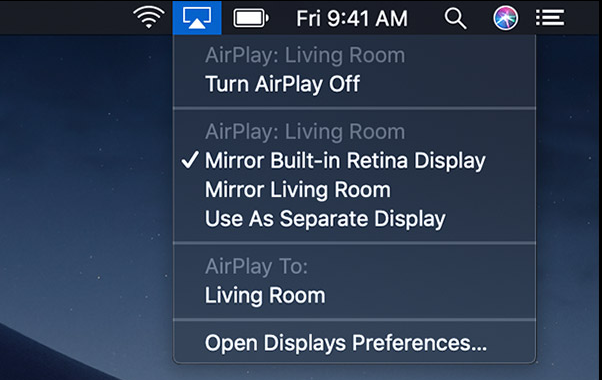 AirPlay from a Mac to Apple TV
