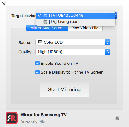 AirPlay from a Mac to Samsung TV