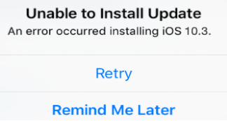 An Error Occurred Installing iOS 10.3