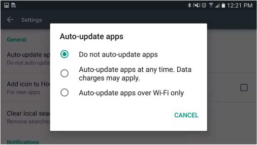 Disable Automatic Updated Option on Android Phone