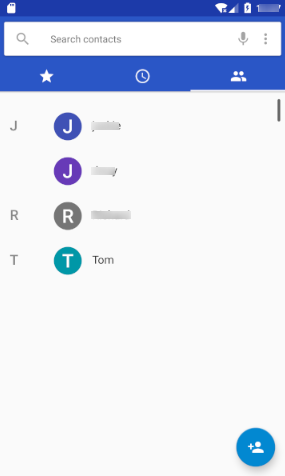 Contacts on Android Phonebook