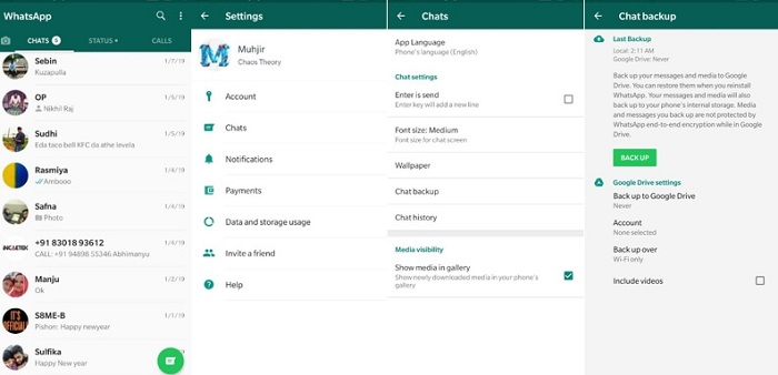 WhatsApp Chat Backup on Android Phone